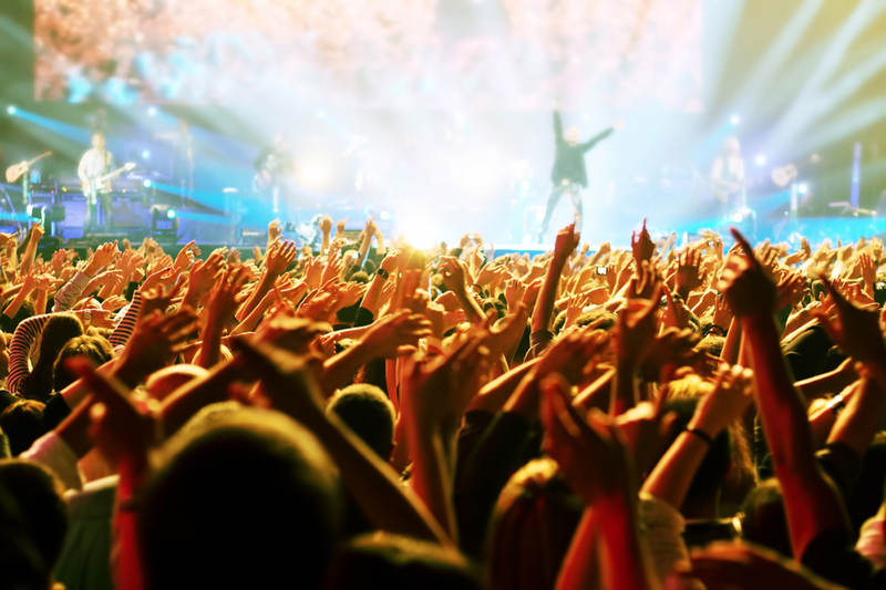 Crowds cheer wildly at one of the top concert venues.
