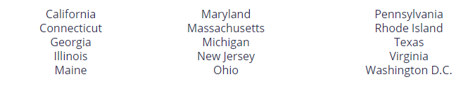 A list of states with deregulated natural gas markets.